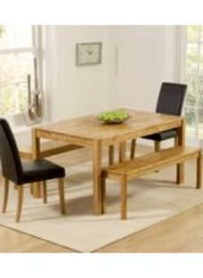 Mark Harris Promo Solid Oak Dining Set - 150cm with 2 Atlanta Brown Faux Leather Chairs and Benches