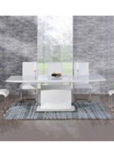 Mark Harris Hayden White High Gloss Extending Dining Table and 6 Malibu Chairs