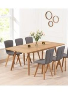 Mark Harris Tribeca Oak Extending Dining Table and 4 Charcoal Chairs
