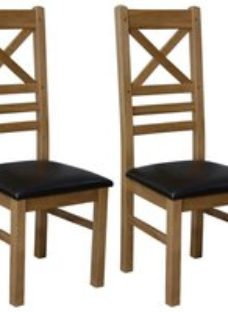 Homestyle GB Deluxe Oak Cross Back Dining Chair (Pair)