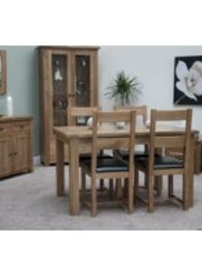 Homestyle GB Rustic Oak Extending Dining Set and 4 Rustic Leather Seat Chairs