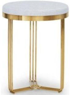 Floriston Silver Woven Fabric and Brass Brushed Round Stool