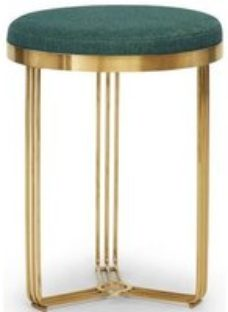 Floriston Conifer Green Woven Fabric and Brass Brushed Round Stool
