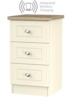 Clearance - Vienna Cream Ash with Bordeaux Oak Top 3 Drawer Bedside Cabinet with Integrated Wireless Charging - New - FS1215