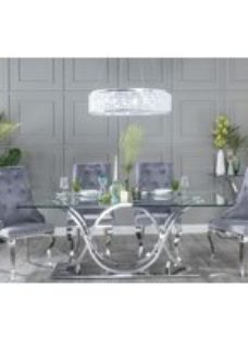 Urban Deco Wave Glass and Chrome 200cm Dining Table and 6 Premiere Grey Knockerback Chairs