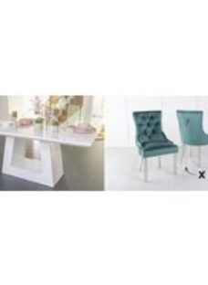 Urban Deco Milan 180cm White Marble Dining Table and 6 Knockerback Green Chairs with Chrome Legs