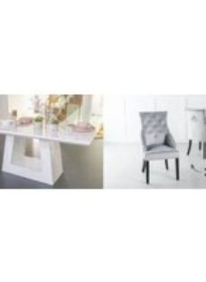 Urban Deco Milan 200cm White Marble Dining Table and 6 Large Knockerback Light Grey Chairs