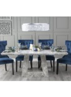 Urban Deco Milan 180cm Grey Marble Dining Table with 6 Courtney Blue Chairs