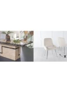 Urban Deco Venice 180cm Cream Marble Dining Table and 6 Hamilton Champagne Chairs