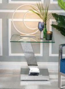 Urban Deco Fusion Glass and Chrome Side Table