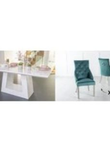 Urban Deco Milan 160cm White Marble Dining Table and 6 Large Knockerback Green Chairs with Chrome Legs