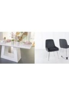 Urban Deco Milan 180cm White Marble Dining Table and 6 Hamilton Black Chairs