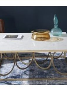 Olympia Brushed Gold and White Marble Square Coffee Table