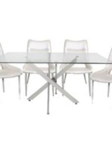 Nanty Dining Table and 4 White Faux Leather Chairs - Glass and Chrome
