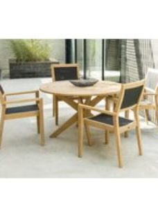 Alexander Rose Roble 125cm Round Dining Table with Cross Base