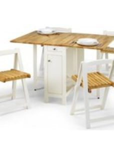 Julian Bowen Savoy White and Natural Drop Leaf Dining Table and 4 Chairs