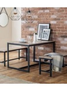 Julian Bowen Tribeca Sonoma Oak and Black Metal Dining Table and 2 Bench