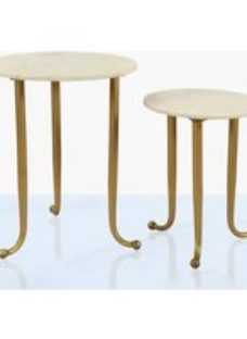 Jolly Nest of Tables - Gold and White