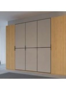 Rauch 20UP Partly Solid Wardrobe in Natural Oak Carcase with Matt Color Glass Front and Black Handle Strip