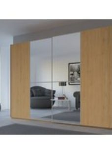 Rauch 20UP Sliding Wardrobe in Natural Oak Carcase with Mirror Front and Aluminium Handle Strip