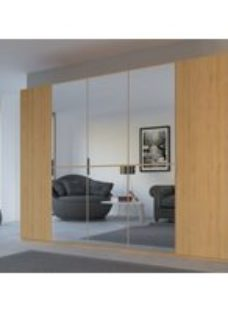 Rauch 20UP Partly Solid Wardrobe in Natural Oak Carcase with Mirror Front and Natural Oak Handle Strip