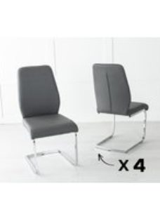 Set Of 4 Oslo Dark Grey Leather Dining Chair with Brushed Stainless Steel Cantiliver Base