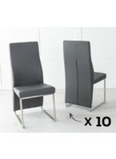 Enzo Set of 10 Dark Grey Leather Dining Chair with Brushed Stainless Steel Base
