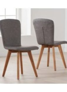 Mark Harris Tribeca Grey Faux Leather Dining Chair (Pair)