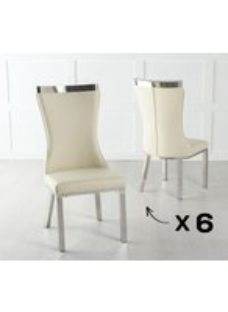 Maison Set of 6 Dining Chair with Chrome Legs - Cream Leather
