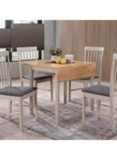 Clearance - Altona Drop Leaf Dining Table - Oak and Stone Grey Painted - New - FSS9045
