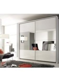 Rauch Quadra Sliding Wardrobe with High Gloss and Part Mirror Front