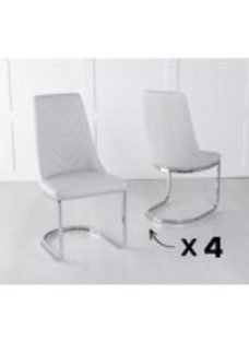 Set of 4 Phoenix Grey Faux Leather Dining Chair