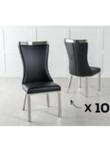 Set of 10 Maison Black Faux Leather Dining Chair with Chrome Legs