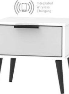 Hong Kong 1 Drawer Bedside Cabinet with Wooden Legs and Integrated Wireless Charging - Grey and White