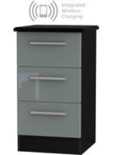 Knightsbridge 3 Drawer Bedside Cabinet with Integrated Wireless Charging - High Gloss Grey and Black