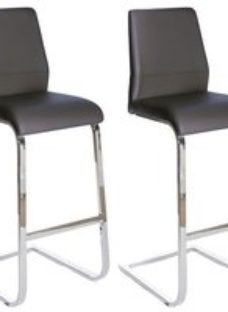 Clearance - Seattle Grey Faux Leather Stool (Pair) - New - FS1018