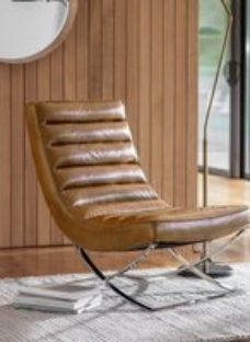 Clearance - Gallery Cassino Brown Leather Lounger - New - E-511