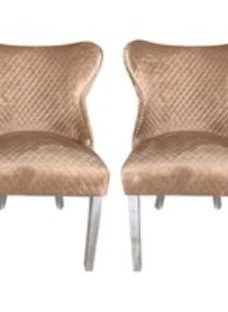 Abie Champagne Velvet Quilted Wingback Dining Chair (Pair)