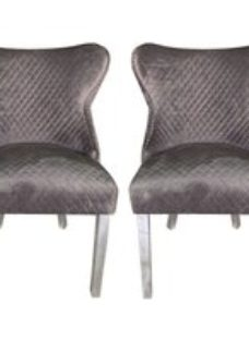 Abie Grey Velvet Quilted Wingback Dining Chair (Pair)