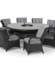 Maze Rattan Flat Weave Texas Grey Round Dining Table with Ice Bucket and 8 Chair