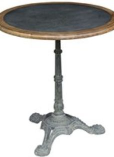 Clearance - Renton Industrial Zinc Top Round Cafe Table - New - E-686