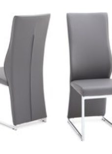Clearance - Remo Dining Chair (Pair) - Grey Faux Leather and Chrome - New - FSS9427