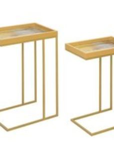Vandalia Mustard Abstract Nest of 2 Tables With Gold Legs
