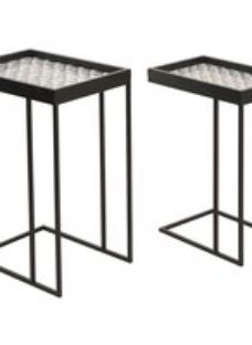 Vandalia White Abstract Nest of 2 Tables With Black Legs