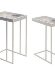 Vandalia Pink Abstract Nest of 2 Tables with Silver Legs