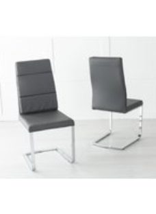 Miami Dark Grey Leather Dining Chair with Brushed Stainless Steel Cantiliver Base