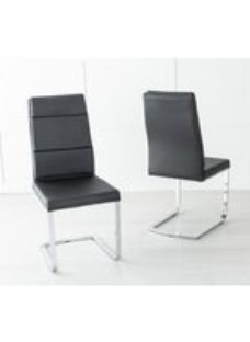 Miami Black Leather Dining Chair with Brushed Stainless Steel Cantiliver Base