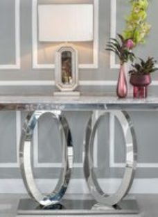 Urban Deco Orbit Grey Marble and Chrome Console Table