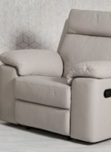 Enzo Putty Leather Electric Recliner Armchair