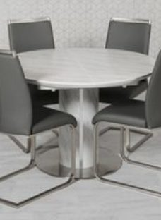 Allure Marble Effect Round Extending Dining Table